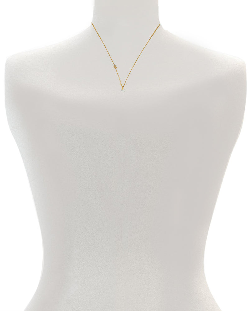 Simple Round CZ Necklace - Crystal/Rhodium Plated