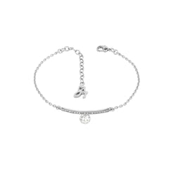 Linear Pave & CZ Bracelet - Crystal/Rhodium Plated