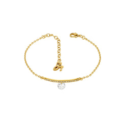 Linear Pave & CZ Bracelet - Crystal/Gold Plated