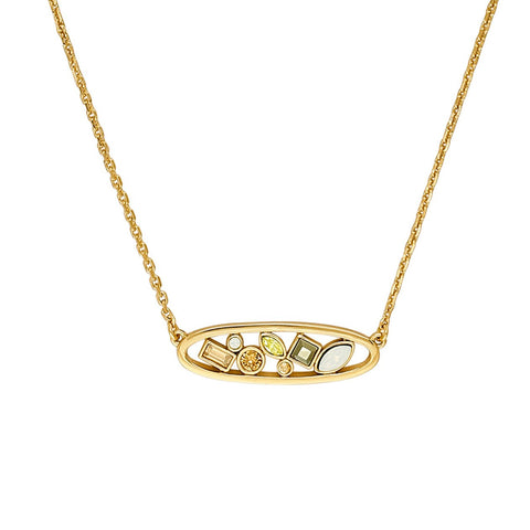 Mixed Crystal Oval Necklace - Mixed Gold Crystal/Gold Plated