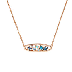 Mixed Crystal Oval Necklace - Mixed Blue Crystal/Rose Gold Plated