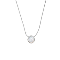 Cushion Stone Necklace - Crystal/Rhodium Plated