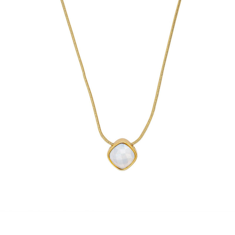 Cushion Stone Necklace - Crystal/Gold Plated