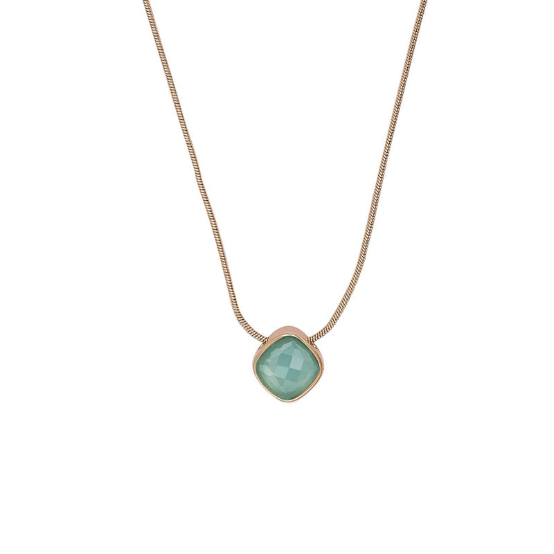 Cushion Stone Necklace - Crystal/Rose Gold Plated