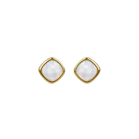Cushion Stone Earrings - Crystal/Gold Plated