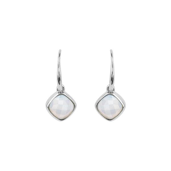 Cushion Stone French Wire Earrings - Crystal/Rhodium Plated