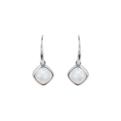 Cushion Stone French Wire Earring - Crystal/Rhodium Plated