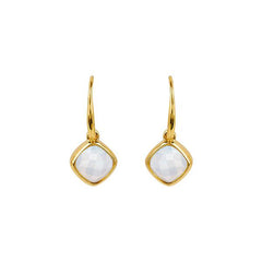 Cushion Stone French Wire Earrings - Crystal/Gold Plated