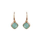 Cushion Stone French Wire Earrings - Crystal/Rose Gold Plated