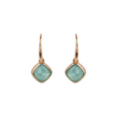 Cushion Stone French Wire Earring - Crystal/Rose Gold Plated