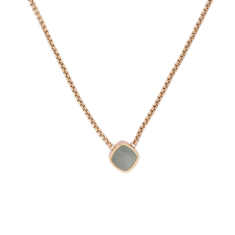 Resin Soft Square Necklace - Crystal/Rose Gold Plated