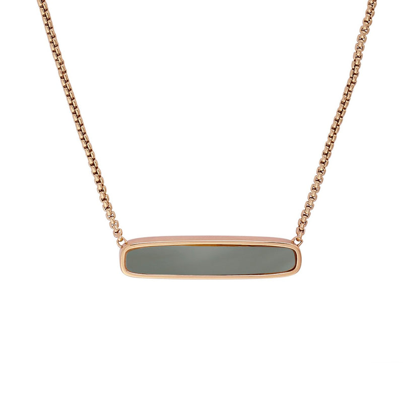 Resin Soft Bar Necklace - Crystal/Rose Gold Plated