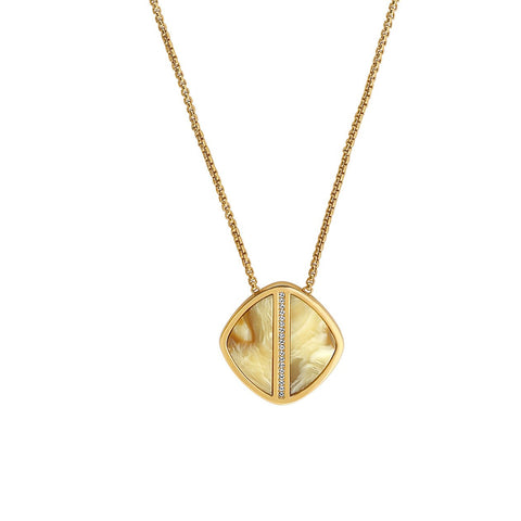 Resin Soft Square Long Necklace - Crystal/Gold Plated