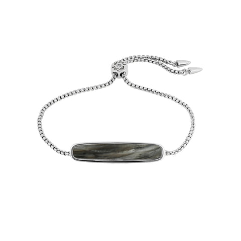 Resin Bar Slide Bracelet - Crystal/Rhodium Plated
