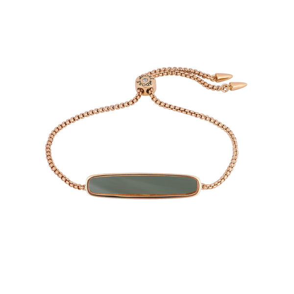 Resin Bar Slide Bracelet - Crystal/Rose Gold Plated