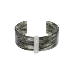 Resin & Pavé Cuff - Crystal/Rhodium Plated