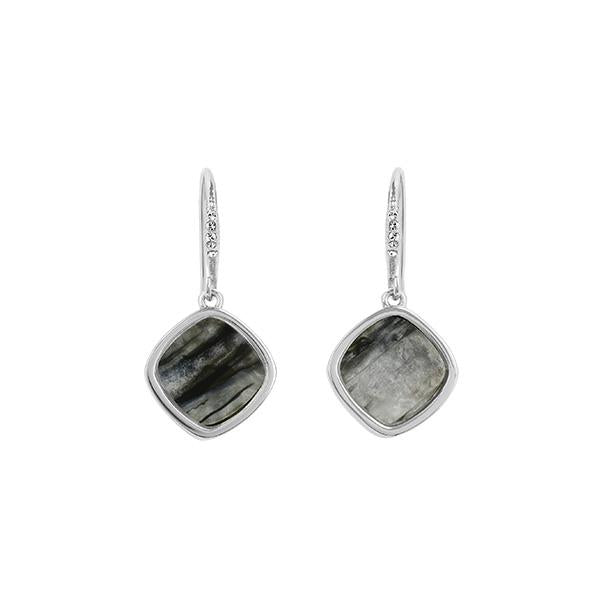Resin Soft Square French Wire Earring - Crystal/Rhodium Plated