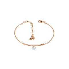 Linear Pave & CZ Bracelet - Crystal/Rose Gold Plated