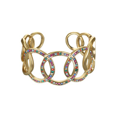 Organic Circle Cuff Bracelet - Crystal/Gold Plated