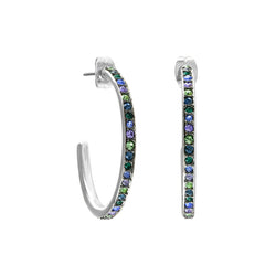Organic Circle Classic Hoop Earrings- Crystal/Rhodium Plated