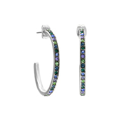 Organic Circle Classic Hoop Earring- Crystal/Rhodium Plated