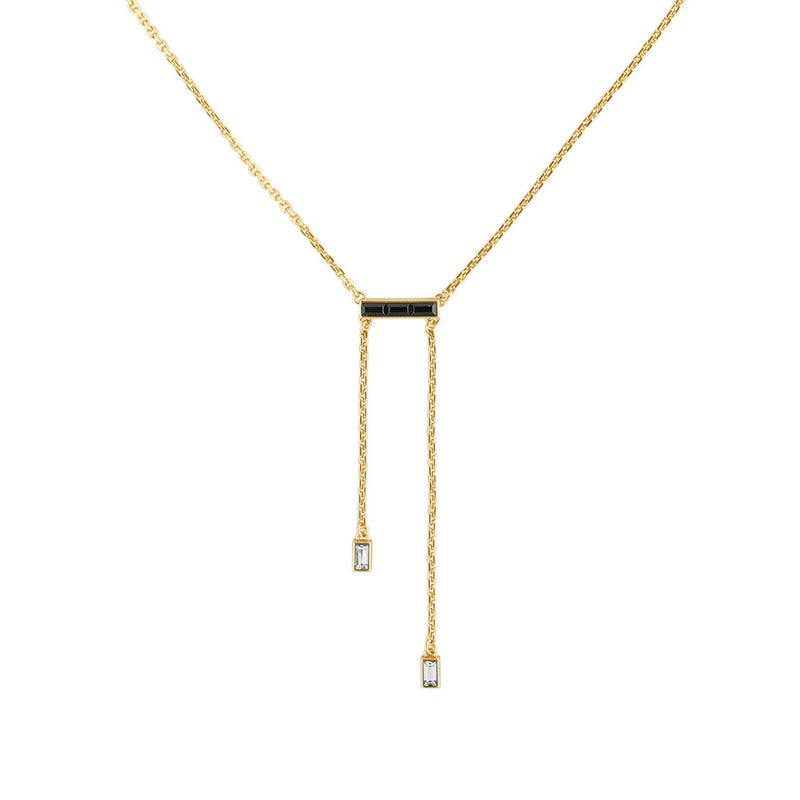 Baguette Bar Y Necklace - Crystal/Gold Plated