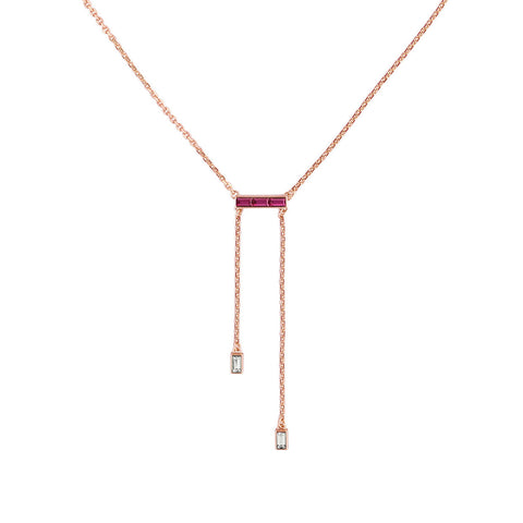 Baguette Bar Y Necklace - Crystal/Rose Gold Plated