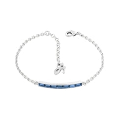 Baguette Bar Bracelet- Crystal/Rhodium Plated