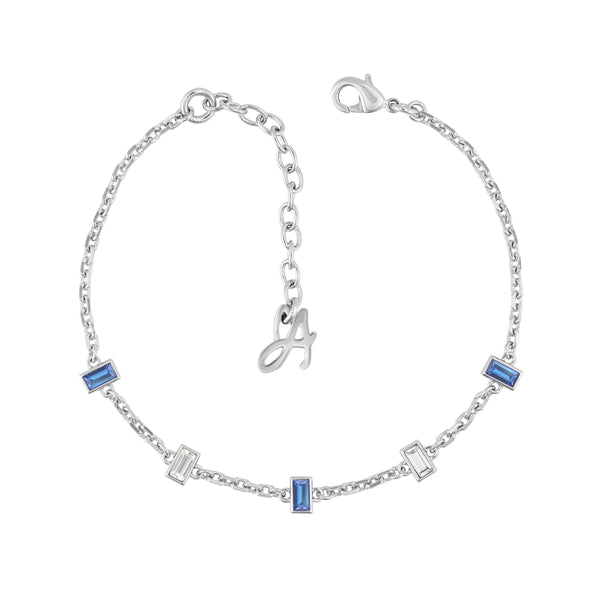 Baguette Bar Station Bracelet- Crystal/Rhodium Plated
