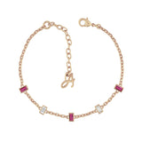 Baguette Bar Station Bracelet - Crystal/Rose Gold Plated
