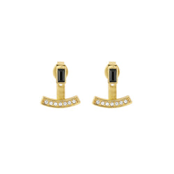 Baguette Bar Jacket Earrings - Crystal/Gold Plated