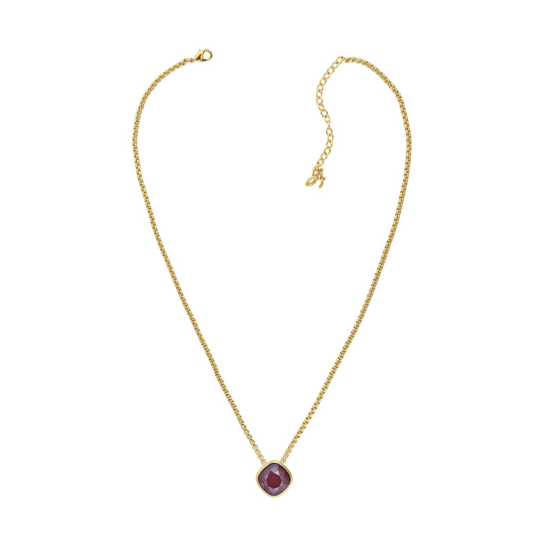 Soft Square Stone Cushion Necklace- Crystal/Gold Plated