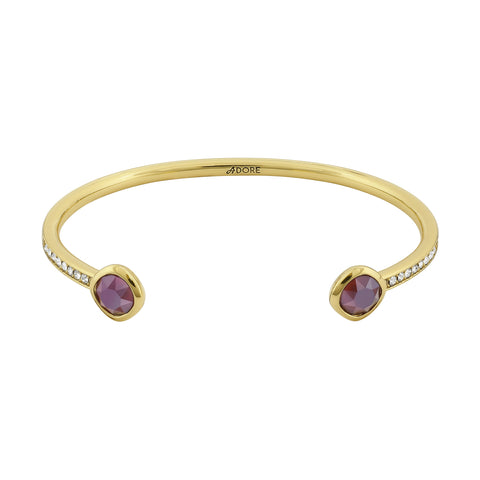 Skinny Pavé & Soft Square Stone Bracelet- Crystal/Gold Plated
