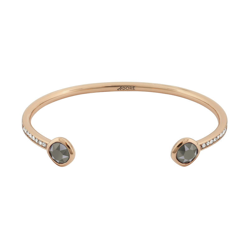 Skinny Pavé & Soft Square Stone Bracelet- Crystal/Rose Gold Plated