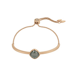 Soft Square Stone Slide Bracelet - Crystal/Rose Gold Plated
