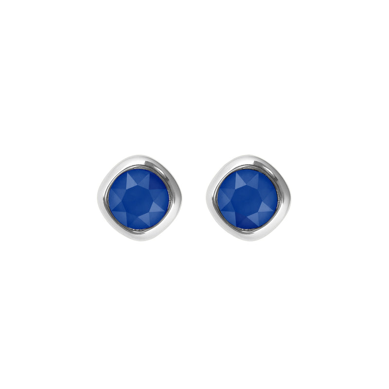 Soft Square Stone Stud Earrings- Crystal/Rhodium Plated