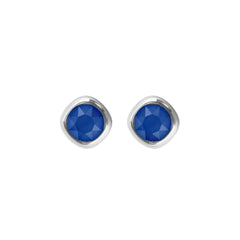 Soft Square Stone Stud Earring- Crystal/Rhodium Plated