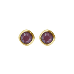 Soft Square Stone Stud Earrings- Crystal/Gold Plated