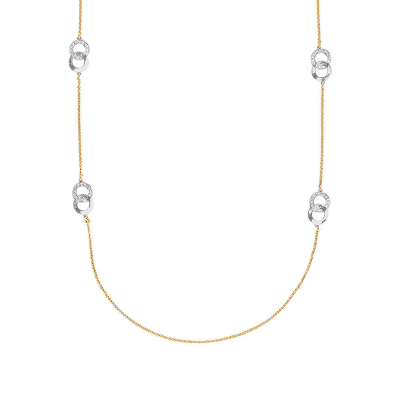 Interlocking Ring Long Necklace - Crystal/Gold/Rhodium Plated