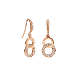 Interlocking Ring French Wire Earrings - Crystal/Rose Gold Plated