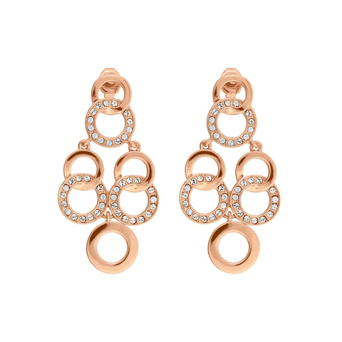 Interlocking Ring Chandelier Earrings- Crystal/Rose Gold Plated