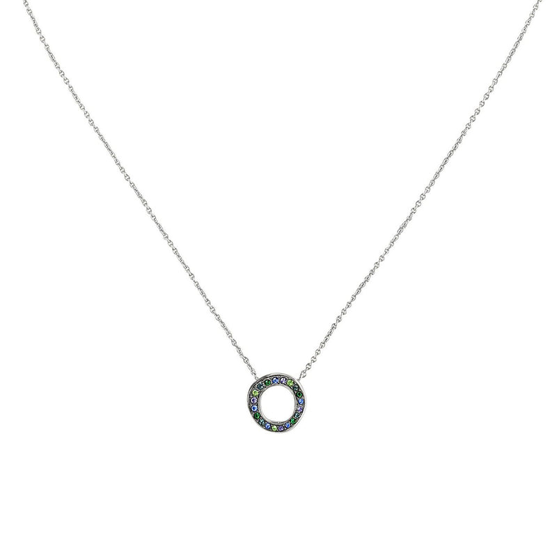 Mini Organic Circle Necklace- Crystal/Rhodium Plated