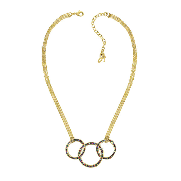 Organic Circle Drama Necklace - Crystal/Gold Plated