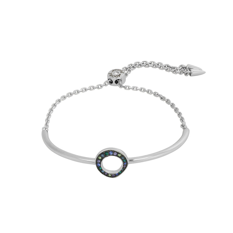 Organic Circle Slide Bracelet - Crystal/Rhodium Plated