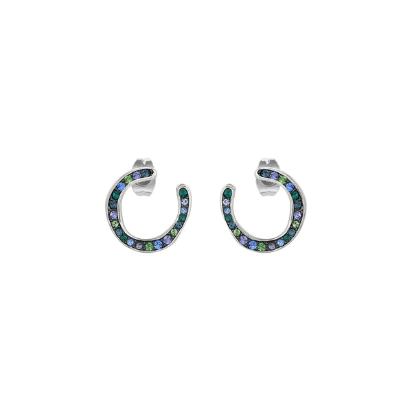 Organic Circle Hoop Earrings- Crystal/Rhodium Plated