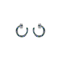 Organic Circle Hoop Earring - Crystal/Rhodium Plated