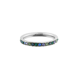 Organic Circle Stacking Ring- Crystal/Rhodium Plated