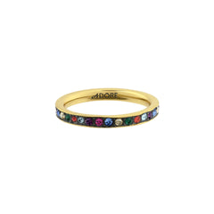 Organic Circle Stacking Ring- Crystal/Gold Plated