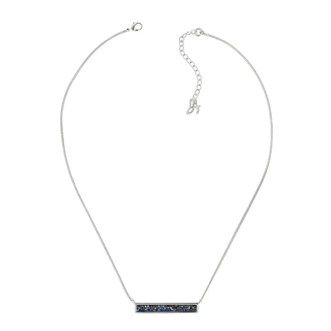 Ultra Fine Rock Bar Necklace- Crystal/Rhodium Plated