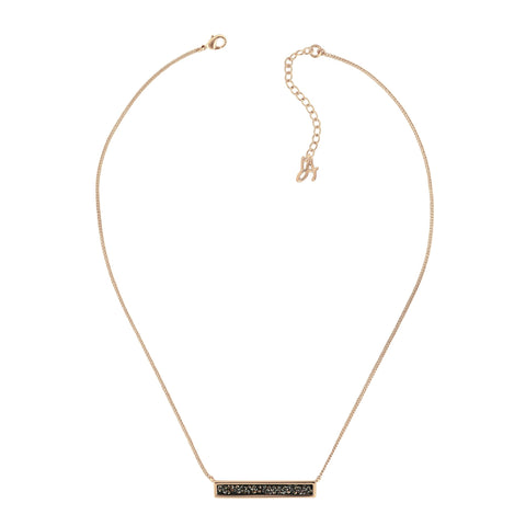 Ultra Fine Rock Bar Necklace - Crystal/Rose Gold Plated